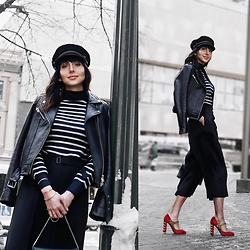 Amber - Brixton Newsboy Hat, Comme Des Garçons Stripes Sweater, House Of Mackage Pebble Leather Jacket, Dolce & Gabbana Red Military Suede Heels - How to dress like a modern day Parisian