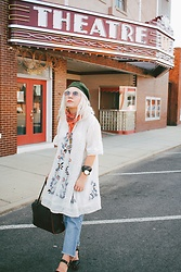 Hannah Riley - Fossil Watch, Free People Dress, Lei Jeans, Beara Bag, Mossimo Clogs, Free People Sunglasses, Beret, American Eagle Outfitters Scarf - At the Theatre
