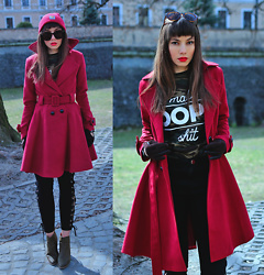 Jointy&Croissanty © - Fashionmia Coat, Lovelywholesale Pants, Carhartt Beanie - Burgundy and camo