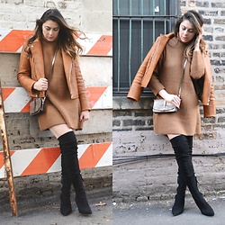 Fashionlingual, Desirée - Shein Sweater Dress, Fauxgerty Moto Jacket - Oversized Knit & OTK Boots