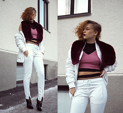 Jasmin Valta - Carlings Jacket (Boyfriend's), Gina Tricot Fur, Asos Pants, Bik Bok Knitted Top, River Island Black Top, Issue 1.3 Shoes - A LITTLE BIT OF FISHNET