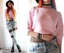 Liza LaBoheme - Pink Crop Sweater, New Yorker Distressed Jeans, Layered Necklace - Cotton Candy