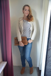 Sarah M - C&A Blazer, C&A Top, Zara Clutch, Michael Kors Watch, Lee Jeans, Primark Booties - Festive Casual
