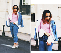 Mafalda M. - Sammydress Denim Jacket, Trendsgal Bell Sleeve Jumper, Levi's® Vintage Jeans, Trendsgal Pointed Toe Sandals, Lord Timepieces Gold Classic Watch - Bell sleeves & denim