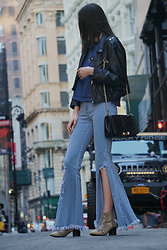Sami Mauskopf - Nasty Gal Faux Leather Jacket, Shein Light Washed Torn Flared Jeans, Free People Snakeskin Booties, Rebecca Minkoff Quilted Crossbody - Peekaboo Denim