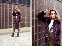 Outi Toivola - Mango Faux Fur, Asos Faux Leather Skirt, Vagabond Leather Boots - Plum & Olive