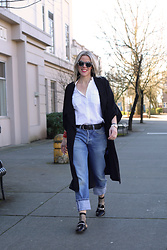 Anne Dofelmier - Levis Straight Jeans 501, Unif Duster, Chicos White Button Down Shirt, Marc Fisher Mules - Fall In Love With The Duster