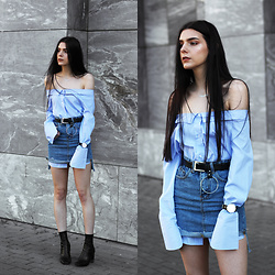 CLAUDIA Holynights - Shein Off Shoulder Shirt, Romwe Denim Skirt, 4th And Reckless Boots - Denim skirt