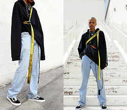 Dominic Grizzelle - Clp Oversized Hoodie, Levis 501, Off White Industrial Belt - Back in the LAB