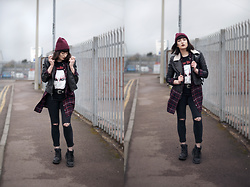 Amy Souter - Marylin Manson T Shirt, Topshop Leather Jacket, Shoe Zone Black Boots, Ebay Fishnet Tights, Primark Western Belt Buckle, Peacocks Plaid Shirt, Primark Red Beanie, Dorothy Perkins Black Jeans - Stand up and admit, tomorrow's never coming