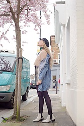 Carla V - Trendsgal Hoodie, H&M Hat, Selected Femme Boots, Metisu Oversized Denim Jacket - Cherry blossom
