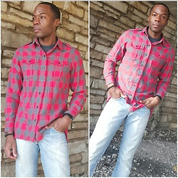 Thomas G - Gap Scarlet Red Flannel, Cross Bracelet, Levi's 511 Strauss & Co - Pursuing HappYness