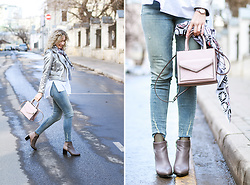 Margarita Maslova - Zara Metallic Jacket, Zara Jeans, Rebecca Minkoff Bag - METALLIC JACKET