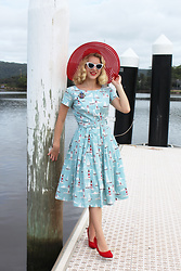 Kayla J - Zoe Vine Isabelle Nautical Dress, Erstwilder Anchor Brooch, Unique Vintage White Sunglasses, Unique Vintage Red Mesh Hat - Nautical Vibes