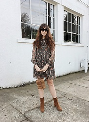Tonya S. - Gucci Cat Eye, Zara Floral Dress, Cecile Ankle Boot - Feeling the Floral