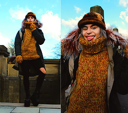 Milex X - Brixtol Jacket, Strickolino Sweater, Girlmerry Jeans, 2ubeauty Hat, Buffalo Platforms - Winter's here again