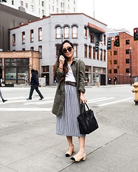 T - Forever 21 Jacket, Everlane Shirt, Forever 21 Skirt, Vintage Belt, Celine Bag, Zara Shoes, Karen Walker Sunglasses - Spring