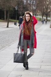 Sagi Fashion -  - Red coat & Gray