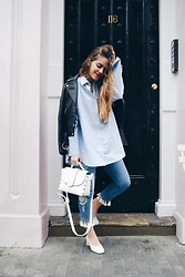 Miss G. Sánchez - Topshop Oversized Blue Shirt, All Saints Leader Jacket, Mansus, Topshop Petite Embroidered - Oversized blue shirt