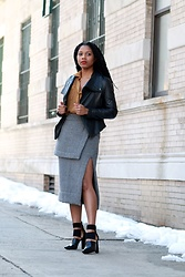 Monroe Steele - Ter Et Bantine Skirt, Alexander Wang Booties, Dallin Chase Leather Jacket - Spring, Snow & Sales