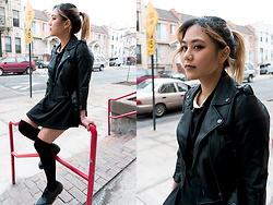 Jessica Joan - Tripp Nyc Cropped Moto Jacket, Valfre Not Impressed Dress, Dr. Martens Vegan 1461three Eyed Oxford - Gloomy