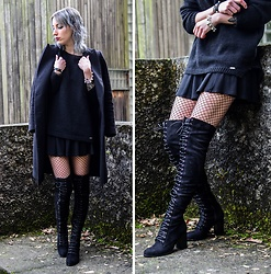 Saskia B. - Public Desire Over The Knee Boots, Asos Fishnet Tights, H&M Skater Skirt, Guess Oversize Knitwear, Zara Long Coat - Over The Knee.