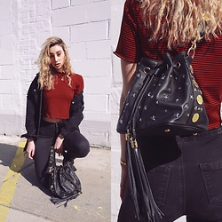 Ana Prodanovich - Poppy Lissiman Bucket Bag, Zara Striped Top, Topshop Denim Jacket - Brands To Know: Poppy Lissiman