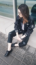 Aleksa Goldfield Rodrigues - Vintage, Aritzia Leather Joggers, Young And Tae Oxfords - Vintage Bomber Jacket