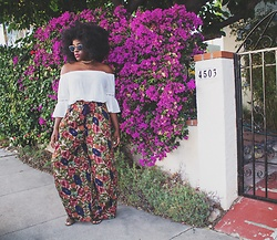 Candice VanWye - Zara Floral Trousers, Quay Glasses, Random Boutique White Off Shoulder Top - Flower Power