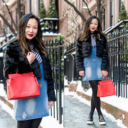 Mary G - Mad Style Cropped Fur Jacket, Mad Style Denim Dress, Cocovann Red Leather Backpack Satchel, & Other Stories Leather Flatforms - Cropped Fur Jacket & Denim Dress