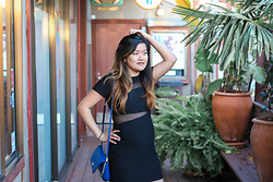 Jo - Express Black Mesh Inset Jacquard Dress, Kate Spade Cobalt Blue Chain Purse - EBD - Edgy Black Dress