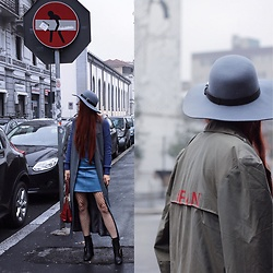 Jenny Danilkova - Pinko Khaki Trenchcoat, & Other Stories Hat, Topshop Long Vest, Mango Ankle Boots - Fishnets
