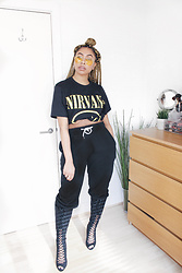 Lavinya Royes - Ebay Sunglasses, Primark Nirvana Tshirt, H&M Fishnet Tights, Primark Jogging Bottoms, New Look Lace Up Boots - Teen Spirit