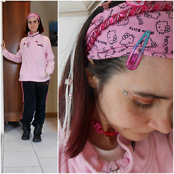 Lulu Longstocking - Adidas Sweatpants, Kickers Boots, Sanrio Kitty Hairband - PINK IS THE NEW BLACK