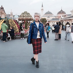 Yan Yan - Forever 21 Blue Moto Jacket, Zara Plaid Midi Skirt - THEME PARK
