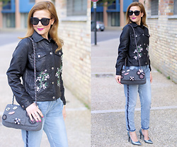 Vale ♥ - Trendyberry Embroidered Floral Jacket, Trendyberry Denim Joggers, Vigevano Shoes #Staymercury - Spring casual look