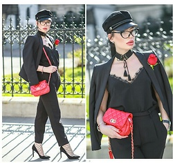 Laura Veronica - H&M Hat, Zara Blazer, Adona Bag - Black& Red
