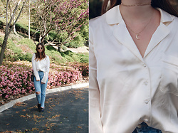 Taylor Smith - Nasty Gal Silk Top, Topshop Jeans, Stargaze Jewelry Choker, Michael Hill Moon Necklace - Silk Top and Jeans