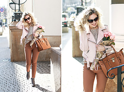 Margarita Maslova - Zara Pink Jacket, Michael Kors Bag Hamilton - BIRTHDAY FLOWERS