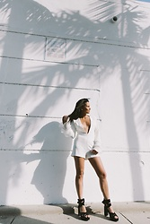 Alexandra Lord - Missguided Flute Sleeve Romper, Steve Madden Suede Sandals - UNDER THE PALMS