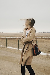 Alexa Jade Warren - Dooney And Bourke Bucket Bag, H&M Camel Sweater, Brandy Melville Usa Tee, Citizens Of Humanity Black Jeans - Wind Swept
