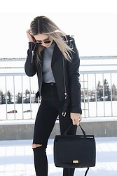 Alexa Jade Warren - Mackage Leather Jacket, Aritzia Bag, Topshop Distressed Denim, Forever 21 Turtleneck - Moto