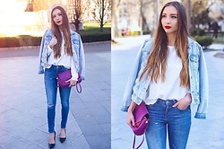 Aliz M - Zara Denim Jacket, Zara White Shirt, Zara Bag, Zara Heels - Red Accent