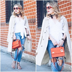 Zia Domic - Sanctuary Clothing Light Trench, Henri Bendel School Bag, Topshop Ripped Jeans - Big White Bow