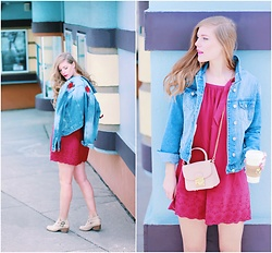 Sydney Hoffman - Bluenotes Denim Jacket, Loft Pink Dress, Le Chateau Pink Purse, Cat Footwear Booties - Rose Patches on my Denim Jacket