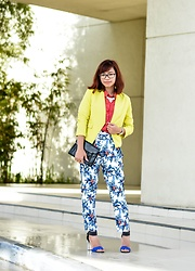 Katrina Enrera - H&M Yellow Blazer, H&M Red Orange Button Down, Forme Printed Trousers, Charles And Keith Black Blue Strap Heels - Pop of Color