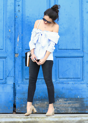 Natalia M - & Other Stories Sunnies, Shein Off Shoulders Blouse, Pull & Bear Diy Jeans, Krack Granny Shoes - JEANS DIY