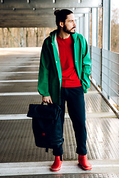 Maik - Elka Raincoat, Hugo Boss Pullover, G Star Raw Pants, Tretorn Boots, Ucon Acrobatics Backpack - Green Raincoat
