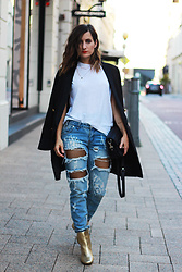 Emily S - One Teaspoon Ripped Denim Jeans, Asos Gold Boots, Black Longline Blazer - Fishnets and Denim