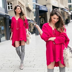 Stephanie Van Klev - Zara Pink Pullover, Stuart Weitzman Over The Knee Boots, Zara Necklace - Pink!